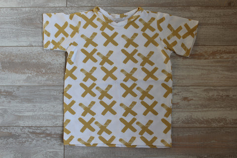 Criss Cross on White T-Shirt