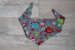 Waverly Monsters on Gray Scarf Bibana