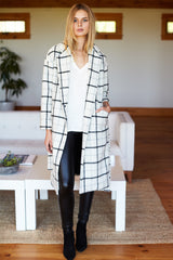 Drop Shoulder Coat - Ivory Plaid