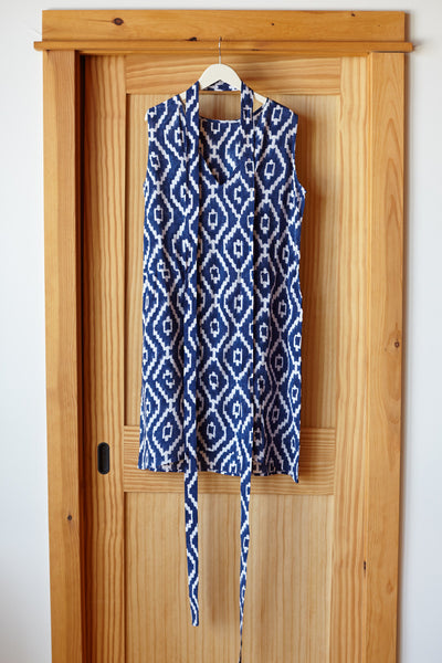 Tie Up Shift - Blue Ikat