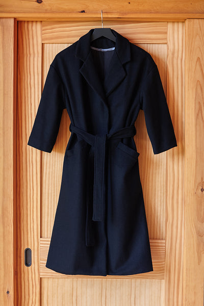 Drop Shoulder Coat - Black Wool