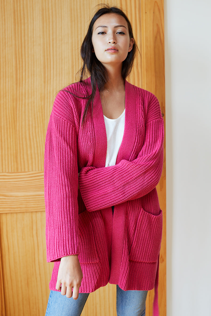 organic wrap sweater ribbed  hot pink  emerson fry