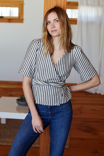 Wrap Top - Organic Stripe