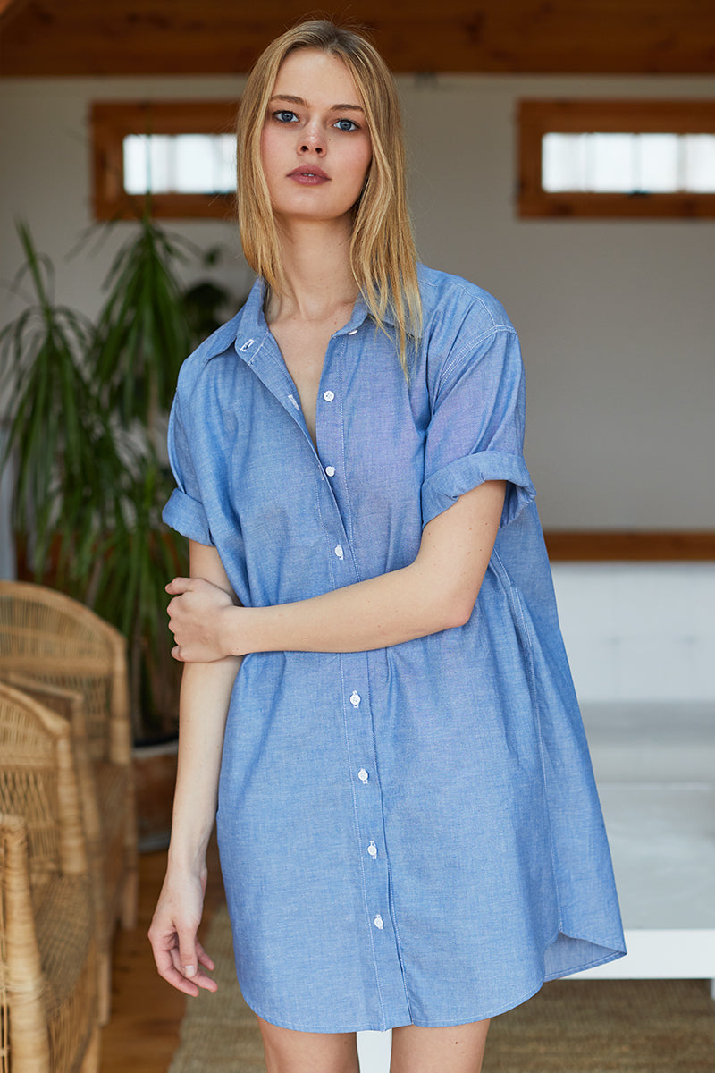52afa8dff4 Short Sleeve Denim Shirt Dress