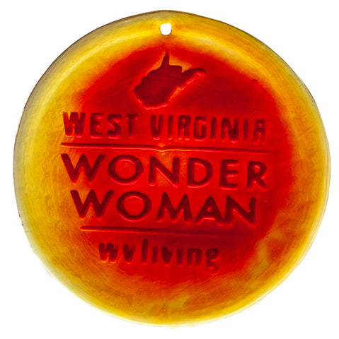 West Virginia Wonder Woman Blenko Glass Ornament