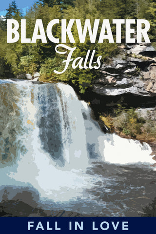 Vintage-Style Travel Poster: Blackwater Falls