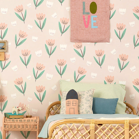 Fleur wallpaper in Summer Pink by Hibou Home