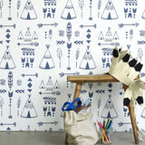Teepees wallpaper - Indigo/White