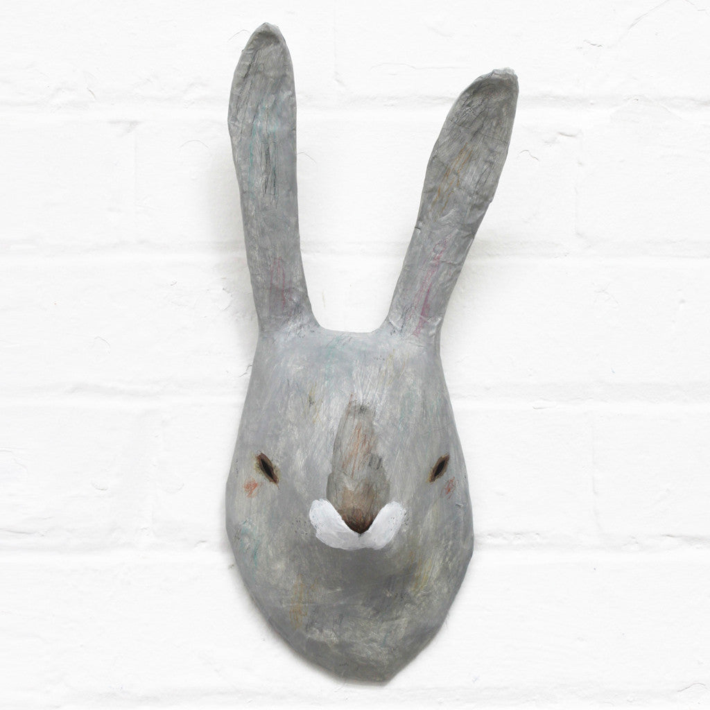 grey rabbit paper mâché animal head u2013 hibou home
