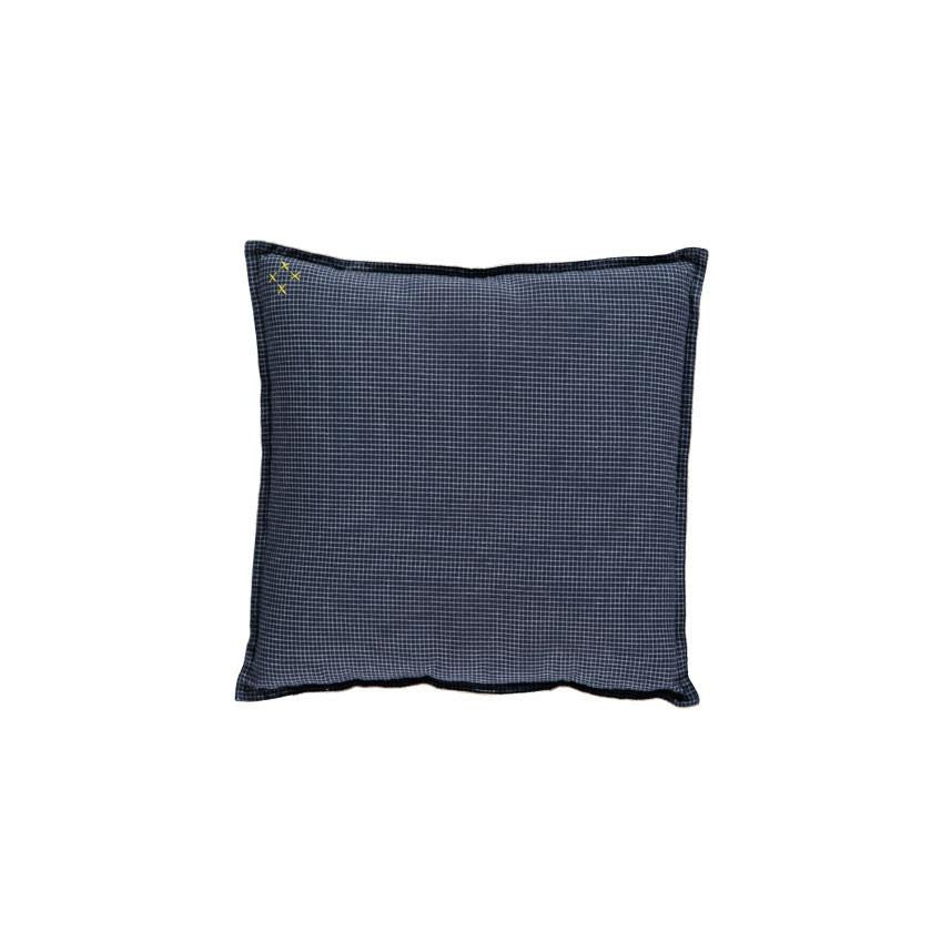 Square Navy Check Cushion