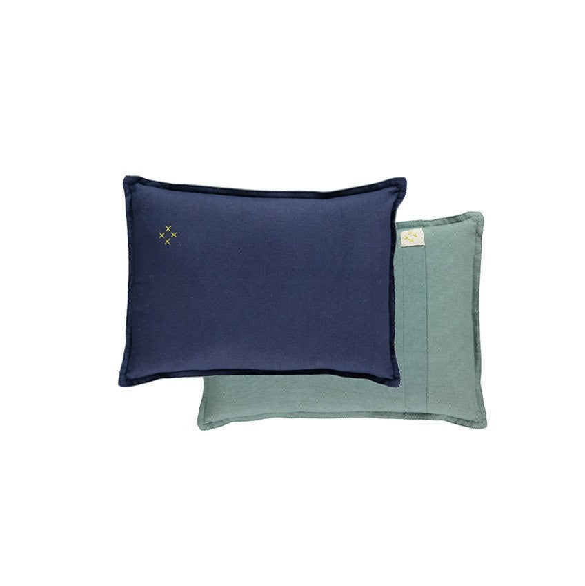 Reversible Two Tone Cushion - French Blue