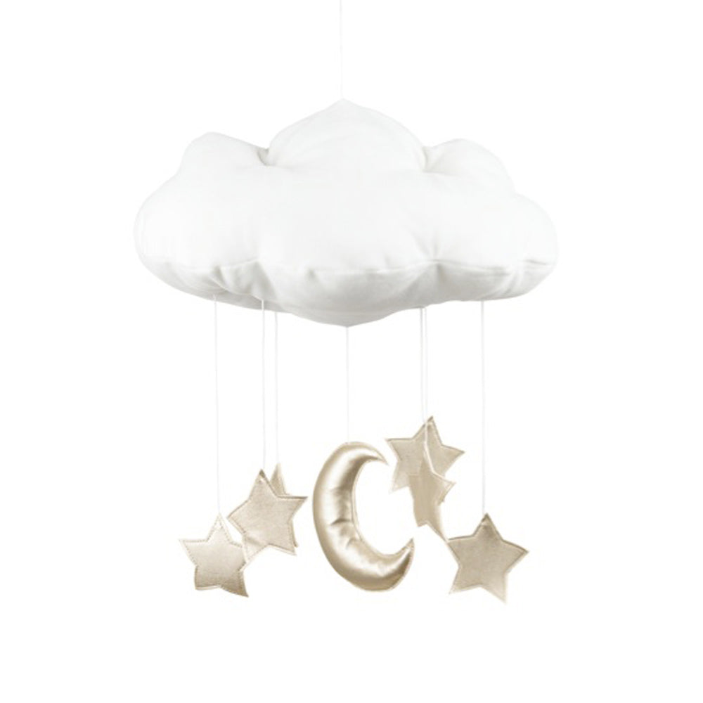 Cloud mobile - gold moon and stars