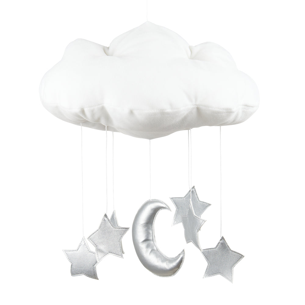Cloud mobile with silver stars and moon