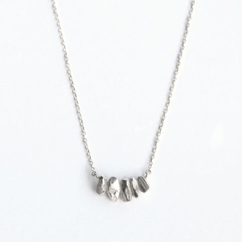 String Crystal Necklace- Silver
