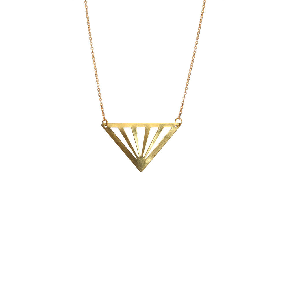Gold Cut Out Triangle Necklace - Long