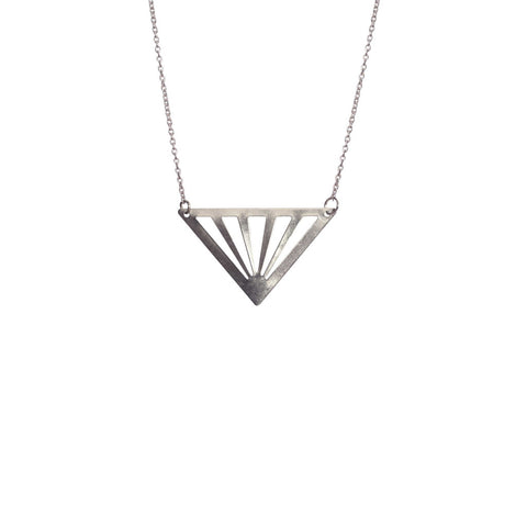 Silver Cut Out Triangle Necklace - Long