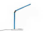 Blue Otsego Full Spectrum LED desk lamp with wireless Qi charging and USB charging