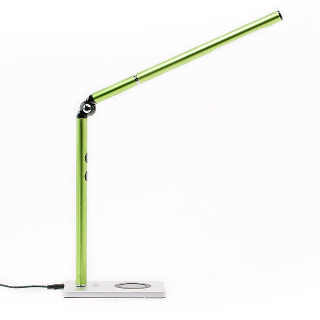 Green Otsego Full Spectrum LED desk lamp with wireless Qi charging and USB charging