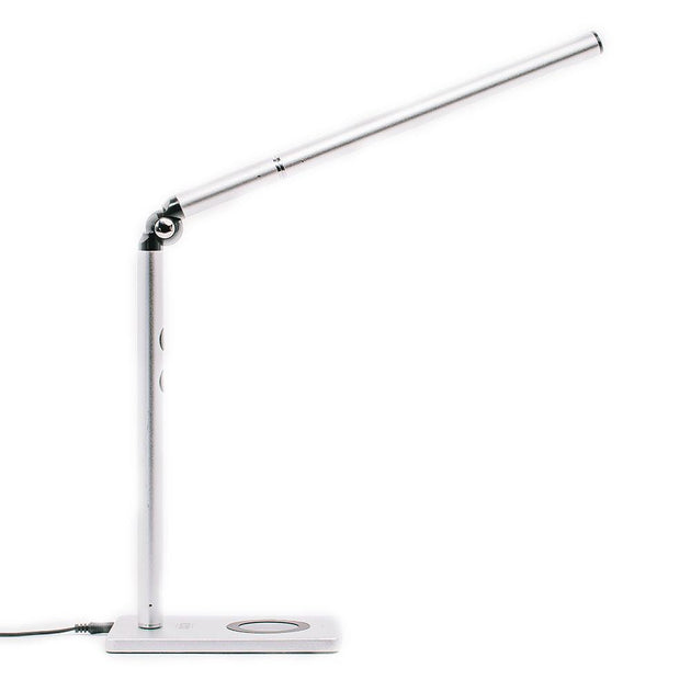Silver Otsego Full Spectrum LED desk lamp with wireless Qi charging and USB charging