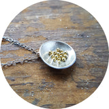 Granulated Pendant - silver & 18ct gold