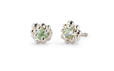 Cluster Earrings - silver & pale green sapphire