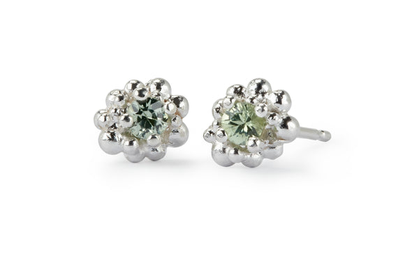Cluster Earrings Medium - silver & pale green sapphire