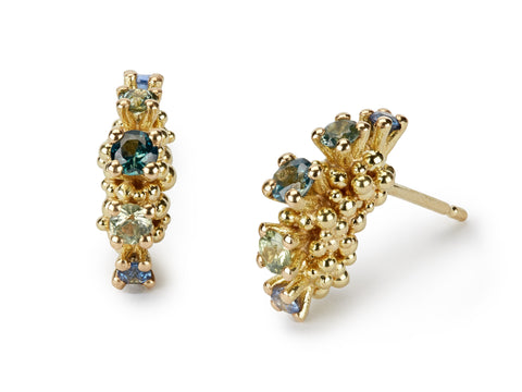 Jewelled Sea Urchin Earrings - gold