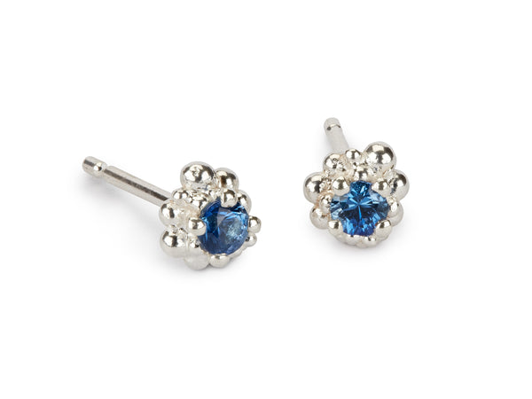 Cluster Earrings - blue sapphire