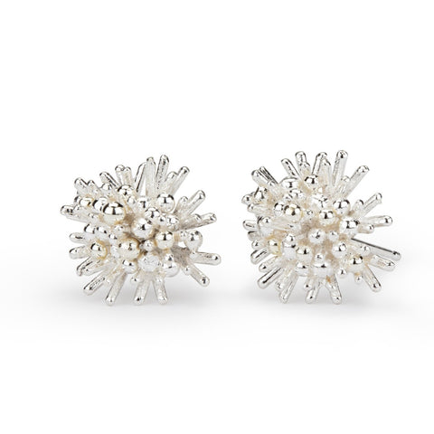 Sea Urchin Earrings - silver