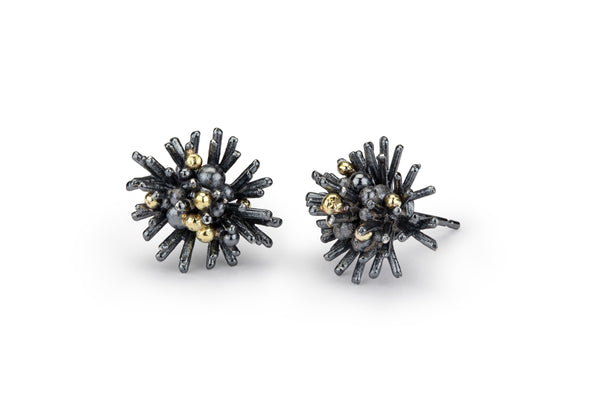 Sea Urchin Earrings - oxidised silver & 18ct gold