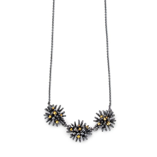 Sea Urchin Pendant - 3 piece oxidised and 18ct gold