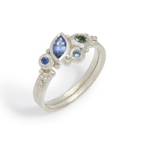 Blue Marquise Cluster Ring
