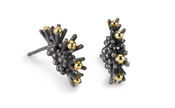 Sea Urchin - Oxidised silver & 18ct gold