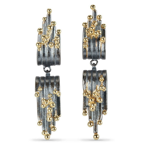 Tide Cascade Earrings - oxidised silver & gold