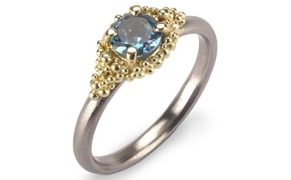 8. Aquamarine Cluster Ring