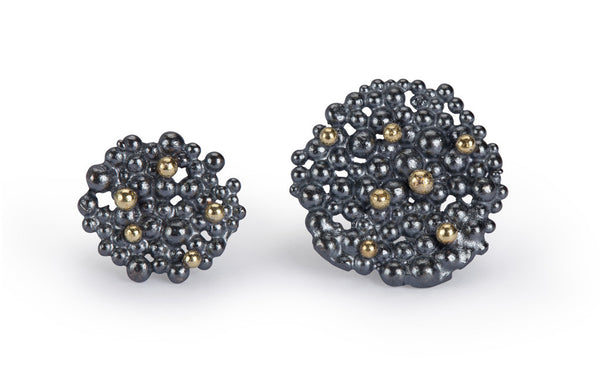 Berry Earrings - oxidised silver & 18ct gold