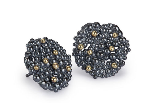 Berry Earrings Large - oxidised silver & 18ct gold