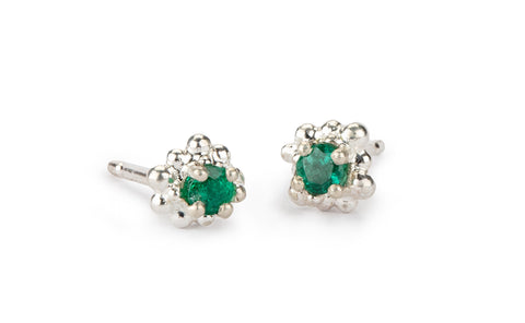 Cluster Earrings - emeralds