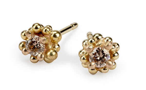 Cluster Studs - champagne diamonds