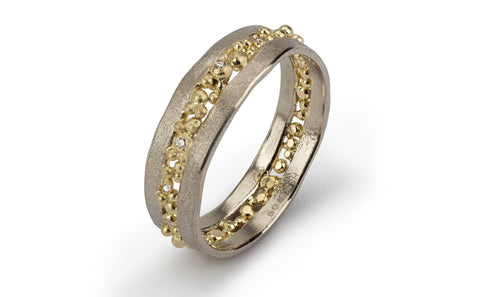 Cut Diamond Ring - white and yellow gold
