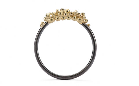 Granule Ring - oxidised and gold