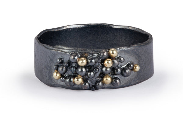 Granulated Ring - oxidised silver & gold