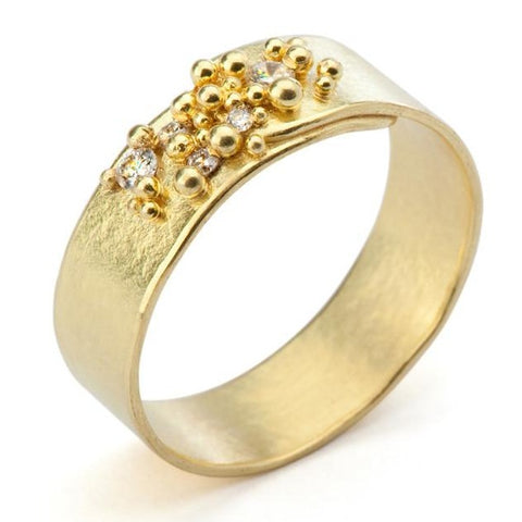 Granulated Diamond Ring - yellow gold
