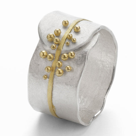 Granulated Ring - silver & gold