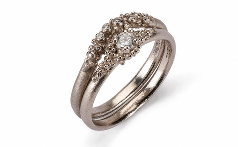 Contour Granule Ring - 18ct white gold