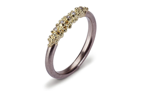 Granule Diamond Ring - white and yellow gold