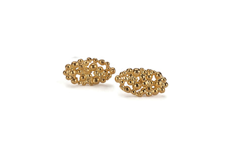 Oval Lace Earrings - gold plated
