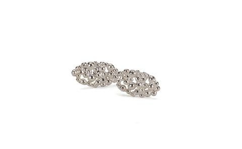 Oval Lace Earrings - silver