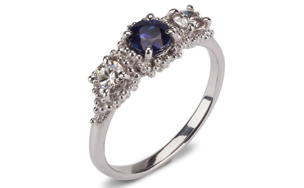 4.Bespoke Cluster Ring - sapphire and diamonds