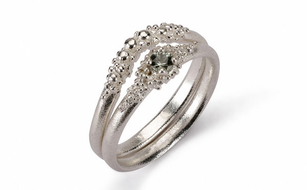 Contour Granule Ring - 9ct white gold